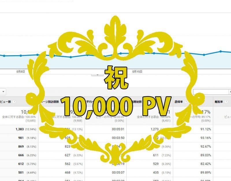 祝ブログ月1万PV!超凡人起業家が実践したPVの増やし方