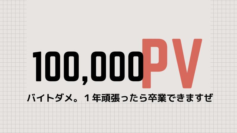 ブログ10万PV達成!記事数から考察する。